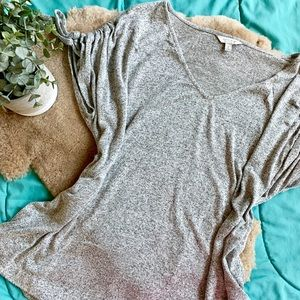 Lucky Brand Gray Cold Shoulder Tie Blouse XL